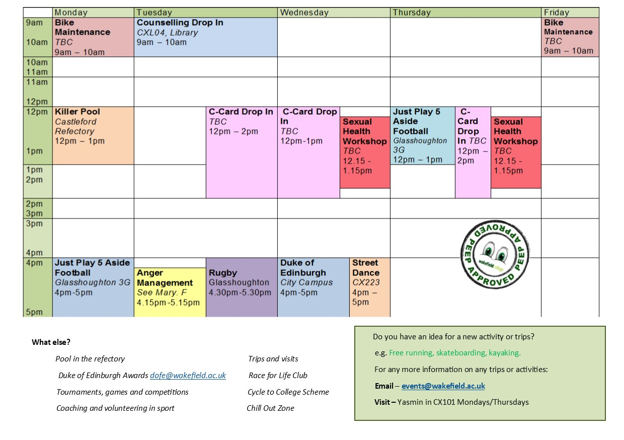 Castleford Campus Timetable