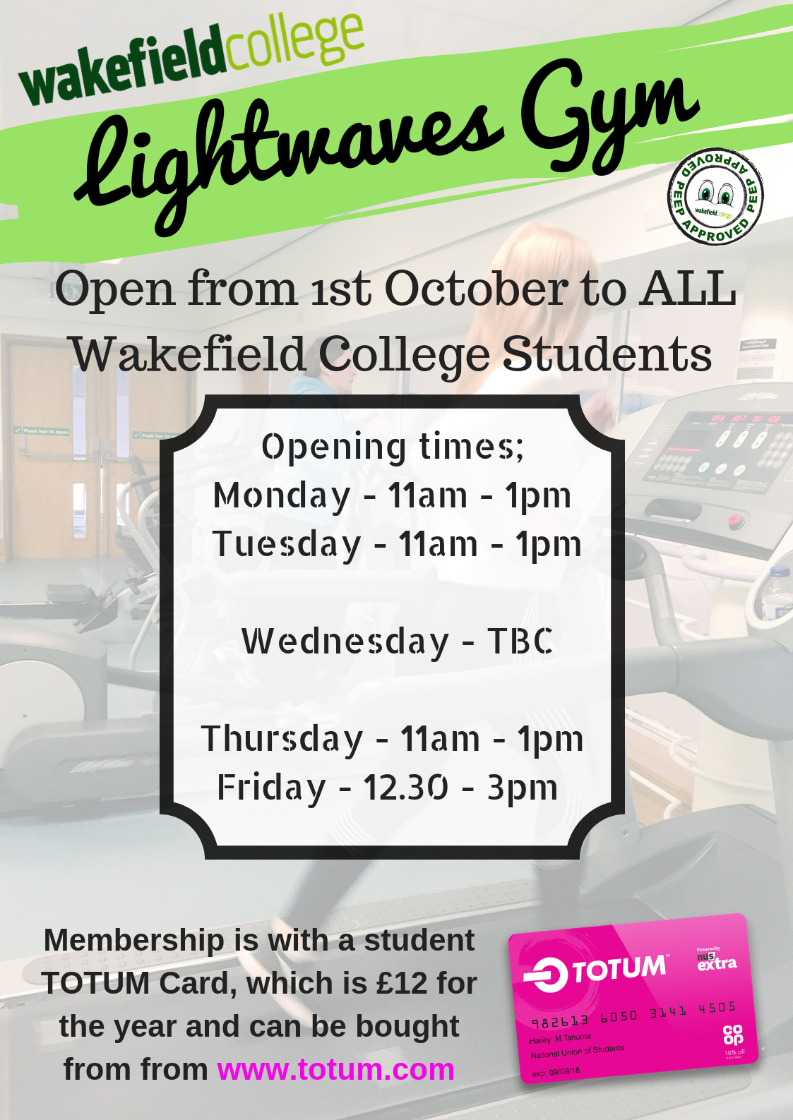 WM: The Gym is now OPEN for ALL students!