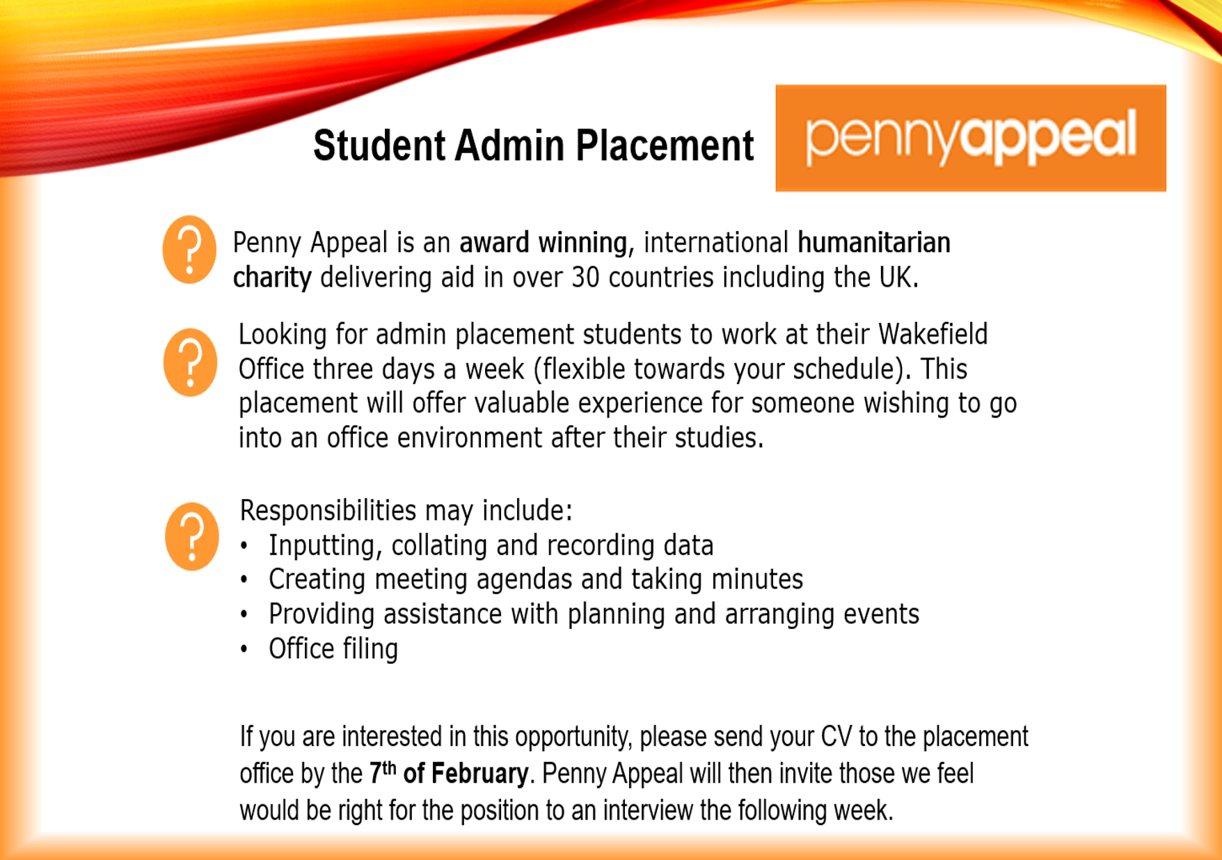 Penny Appeal Work Placement